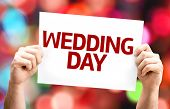 Wedding Day card with colorful background with defocused lights