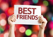 Best Friends card with colorful background with defocused lights