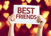 Best Friends card with heart bokeh background