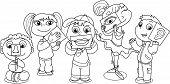 foto of senses  - Children showing five senses - JPG