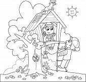 image of country girl  - Boy and girl playing in the country with a treehouse - JPG