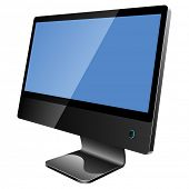 New modern blank black monitor isolated on white background.