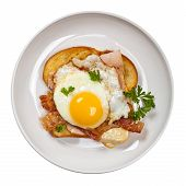 pic of french toast  - Traditional French Toasted Sandwich with fried eggs  - JPG