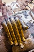 Golden fingers of Buddha Statue in Wat Sri Chum Temple, Thailand
