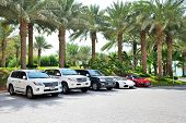 Dubai, Uae - September 11: The Atlantis The Palm Hotel And Luxury Off-road Cars. It Is Located On Ma