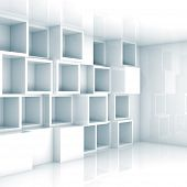 Abstract Empty 3D Interior, White Empty Cube Shelves On Wall