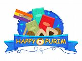 picture of purim  - Colorful Purim banner with Purim elements - JPG