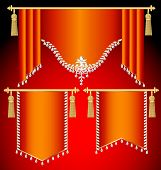 stock photo of tassels  - Illustration set of red curtains with precious stones and gold tassels - JPG
