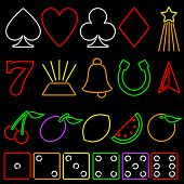 picture of slot-machine  - Set of colorful gambling icons in neon style - JPG