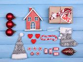 Collection of Christmas objects  on color wooden background