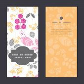 Vector abstract pink, yellow and gray leaves vertical frame pattern invitation greeting cards set