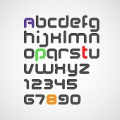 vector latin alphabet letters and numbers with rounded corners