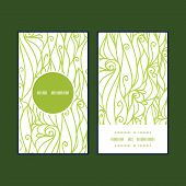 Vector abstract swirls texture vertical round frame pattern business cards set
