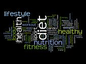 Concept or conceptual abstract diet and health word cloud or wordcloud on black background