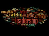 Concept or conceptual abstract leadership and success word cloud or wordcloud isolated on black background