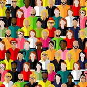 picture of pattern  - vector seamless pattern with a large group of men and women - JPG