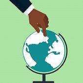 Hands Touching Globe Earth