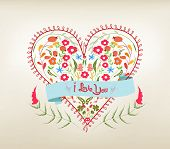 valentine floral hearts greeting card