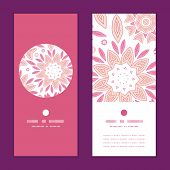 Vector pink abstract flowers vertical round frame pattern invitation greeting cards set