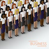 vector 3d isometric  illustration of women business community. a large group of business women or po