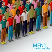 vector 3d isometric  illustration of male community with a large group of guys and men. urban lifest