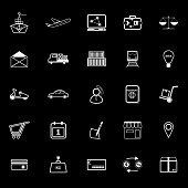 International Business Line Icons On Gray Background