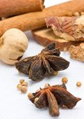 Star Anise, Cinnamon, Peppercorns, Cinnamon Sticks And Another Spices.