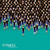 vector flat illustration of a large crowd of men. fitness community