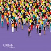 vector flat illustration of society members with a crowd of men and women. population. urban lifesty