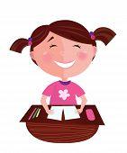 zurück zu Schule: happy lächelnd kleine Mädchen lernen im Klassenzimmer