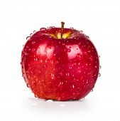 Delicious Red Apple With Dew Isolated On White Background
