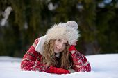 pretty woman portrait outdoor in winter