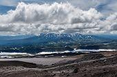 Beautiful Mountain Cloudy Landscape Of Kamchatka Peninsula