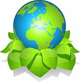 Green earth with leaves.