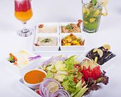 Selection Of Fresh Salads In A Restaurant