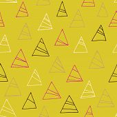 Geometric Seamless Pattern With Triangles. Abstract Yellow Background.