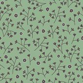 Seamless Floral Pattern With Small Flowers. Endless Green Background.