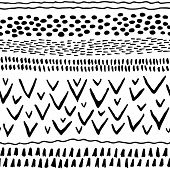 Abstract Stripes Horizontal Seamless Pattern. Background With Hand Drawn Shapes. White And Black Col