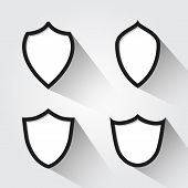 Vector set of modern black and white shields.