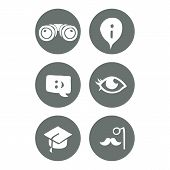 Vector mono travel and education social icons set.