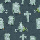 Halloween tombs seamless pattern.
