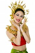 Young beautiful woman in Thai national costume, isolated on a white background