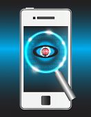 pic of virus scan  - Magnifier and virus data in smartphone on blue background - JPG