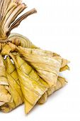 A Bunch Of Rice Dumplings Wrapped With Fan Palm Leaves Use For Religious Ceremony In Southern Of Tha
