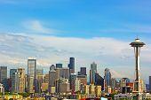 stock photo of washington skyline  - Late afternoon sun touched Seattle city skyline - JPG