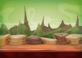 picture of alien  - Illustration of a cartoon funny alien planet landscape background with weird mountains range for ui game - JPG