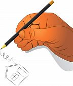 Hand with a pencil draw house