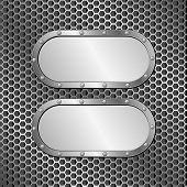 pic of metal grate  - two metallic banners on grille texture  - JPG