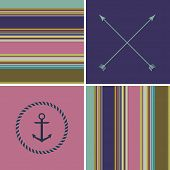 stock photo of decoupage  - geometric colorful retro vintage cute fashion background with hipster icons seamless patterns - JPG