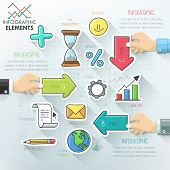stock photo of step-up  - Business hands teamwork infographics template with hand drawn icons on paper sheets - JPG